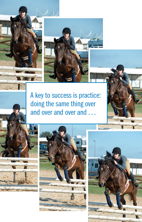 A key to success is practice: doing the same thing over and over and over and...