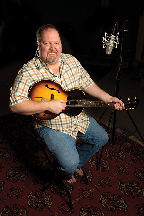 Odie Blackmon, songwriting faculty in the Recording Industry program, in RIM Studio A and in his Ezell Hall classroom.