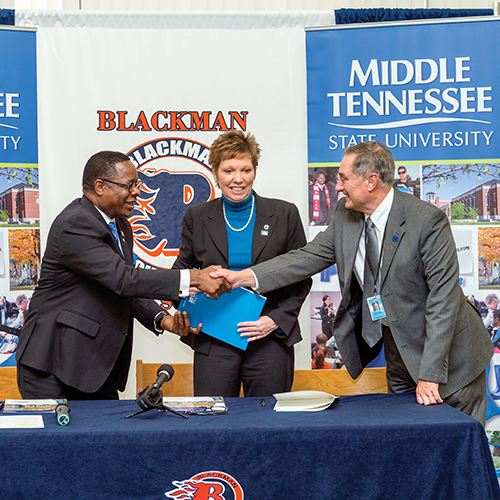 MTSU will become a partner in Blackman High School's new Collegiate Academy, offering college-level courses on the high school campus this fall and assisting in the development of its academic enrichment programs. The agreement signed by MTSU President Sidney A. McPhee, Blackman Principal Leisa Justus, and Don Odom, Director of Schools will allow Blackman juniors and seniors who meet eligibility standards to take up to six hours of university courses at no cost to students.