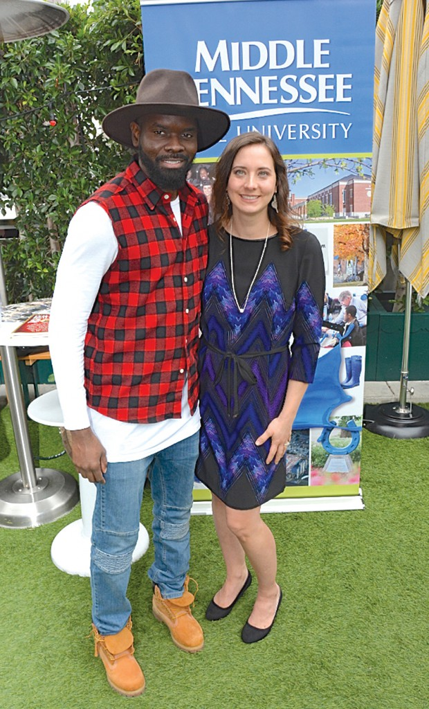 "MTSU alum Torrance ""Street Symphony"" Esmond (left), nominated for a Grammy this year for Best Contemporary Christian Music Song/Performance, with MTSU alumna Alicia Warwick, executive director of The Recording Academy's Nashville chapter, at a Saturday, Feb. 7, brunch in Warwick's honor sponsored by MTSU in downtown Los Angeles before Sunday's Grammy awards. (MTSU photo by Andrew Oppmann)"