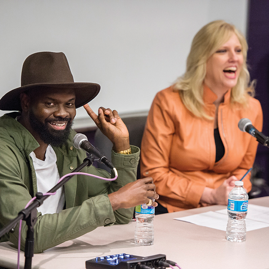 "MTSU alumnus Torrance Esmond, left, and Beverly Keel, chair of the Department of Recording Industry, react to a student's question during Esmond's return visit to campus March 3. Esmond, who's known professionally as ""Street Symphony,"" and fellow former MTSU student Lecrae Moore co-wrote ""Messengers,"" winner of the Grammy for Best Contemporary Christian Music Performance/Song during last month's 57th annual ceremonies in Los Angeles, for Moore's newest release, ""Anomaly."" (MTSU photo by Andy Heidt)"