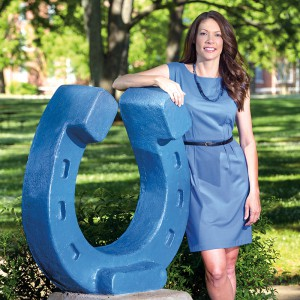 Heather Brown, Concrete Industry Management Chair, around the MTSU campus for the cover MTSU Magazine.