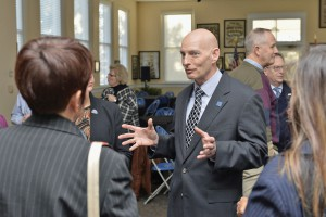 Retired Lt. Gen. Keith Huber chats with attendees at Thursday's reception inside the Tom H. Jackson Building to welcome him to the MTSU campus. Huber joins MTSU this semester as senior adviser for veterans and leadership initiatives. (MTSU photo by Andy Heidt)