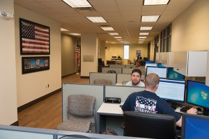 Interior and exterior photos of the Veterans and Military Family Center in the KUC.