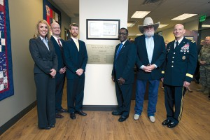 Opening of the Veterans and Military Family Center in the KUC. Hilary Miller, XXXX, Russ Deaton, Executive Director of the Tennessee Higher Education Commission, Sidney A. McPhee, MTSU President, Charlie Daniels, and LTG (ret) Keith M. Huber.