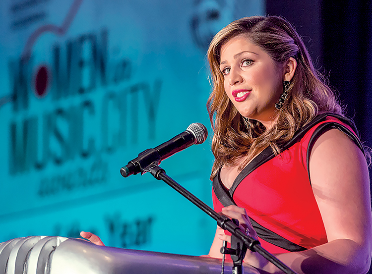 In this 2014 file photo, Hillary Scott, MTSU alumna and lead singer of Grammy-award winning country music trio Lady Antebellum, was recognized as Artist of the Year at The Nashville Business Journal's inaugural Women in Music City Awards held at the Omni Nashville Hotel. (MTSU file photo by J. Intintoli)
