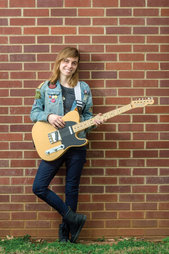 Julien Baker, student and recording artist, in and around Wright Music Building for the Summer 2016 MTSU Magazine.