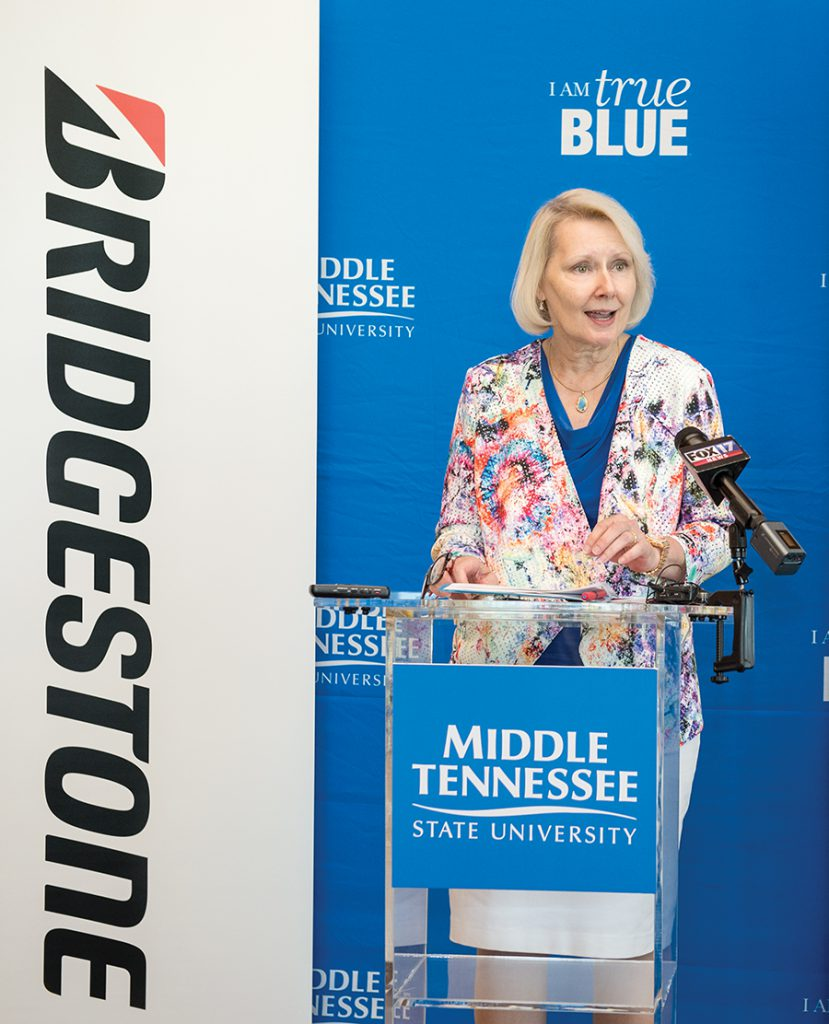 Announcement of the partnership between MTSU and Bridgestone forming the Applied Leadership Certificate Program in the President's Executive Conference Room in the Student Union Building. Christine Karbowiak, chief administrative officer, chief risk officer and executive vice president of Bridgestone Americas.