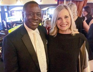 MTSU President Sidney A. McPhee and Nashville Mayor Megan Barry are shown here at the Leadership Music reception in Los Angeles before Monday's telecast of the 58th annual Grammy Awards. (MTSU photo by Andrew Oppmann)