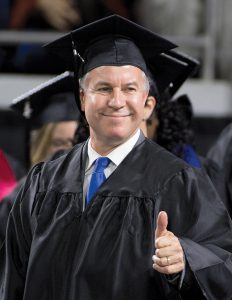 December 2015 Commencement - Afternoon Session featuring speaker U.S. Sen. Bob Corker (R-TN) in Murphy Center. Mike Sparks, Representative, R-Smyrna, District 49, Rutherford County, acknowledges the audience during the afternoon commencement.