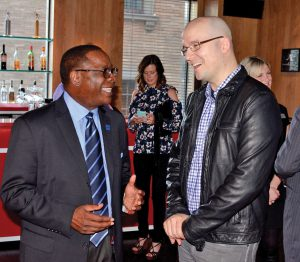 MTSU President Sidney A. McPhee, left, chats with alumnus, Grammy-winner and 2016 Grammy nominee Luke Laird at a reception held Sunday in his honor in Los Angeles by the MTSU College of Media and Entertainment as part of the Grammy weekend festivities in Los Angeles. (MTSU photo by Andrew Oppmann)