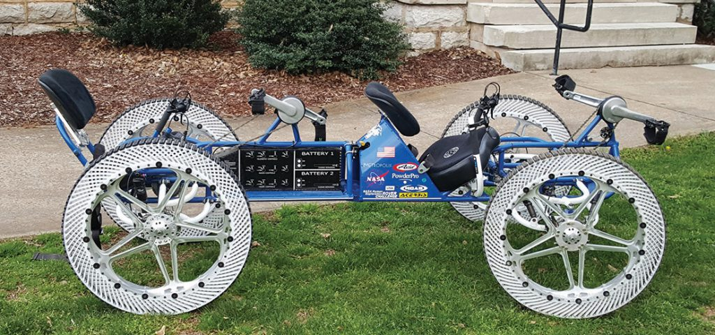The 2016 MTSU lunar rover entry features distinctive ribbed wheels. The team is competing April 8-9 at the NASA Human Exploration Rover Challenge in Huntsville, Alabama. (Submitted photo)