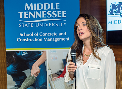 Unveiling of the School of Concrete and Construction Management at Ascend Amphitheater in Nashville. Heather Brown, Chair of the School of Concrete and Construction Management.