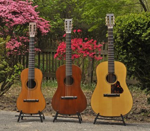 Two smaller Diston models made by Martin, alongside the company's 21st century Ditson reissue model 111. Photo from www.vintagemartin.com.